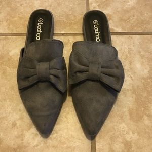 Faux Suede Gray Mules